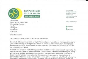 Thank you letter from Hants & IOW Air Ambulance
