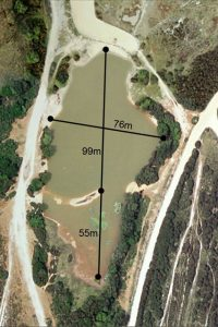 Aerial view of the pond with distances